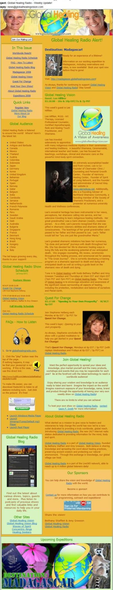 Global Healing Vision Newsletter Sample